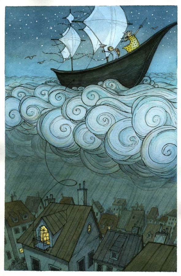 Kids boat on the clouds by Eliza Wheeler